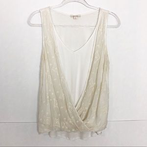 EUC Ella Moss Ivory embroidered draped silk top